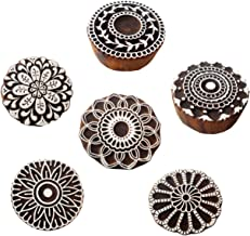 Wholesale (Pack of 6) Round shaped floral designs wooden block stamps / Tattoo/ Indian Textile Printing Blocks.