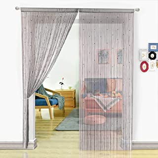 HSYLYM String Curtain with Pearl Beads Dense Fringe Beaded Door Tassel Curtains (100X200cm,Grey)