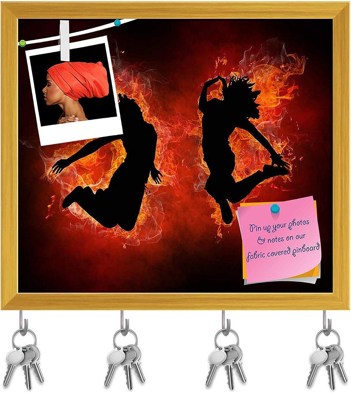 Artzfolio Bright Flamy Symbol D3 Key Holder Hooks   Notice Pin Board   golden Frame 18.2 X 16Inch