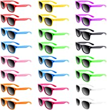 TUPARKA 24 Pack Neon Colors Sunglasses Party Favors Goody Bag Fillers Bulk Pool Party Toys,10 Different Colors
