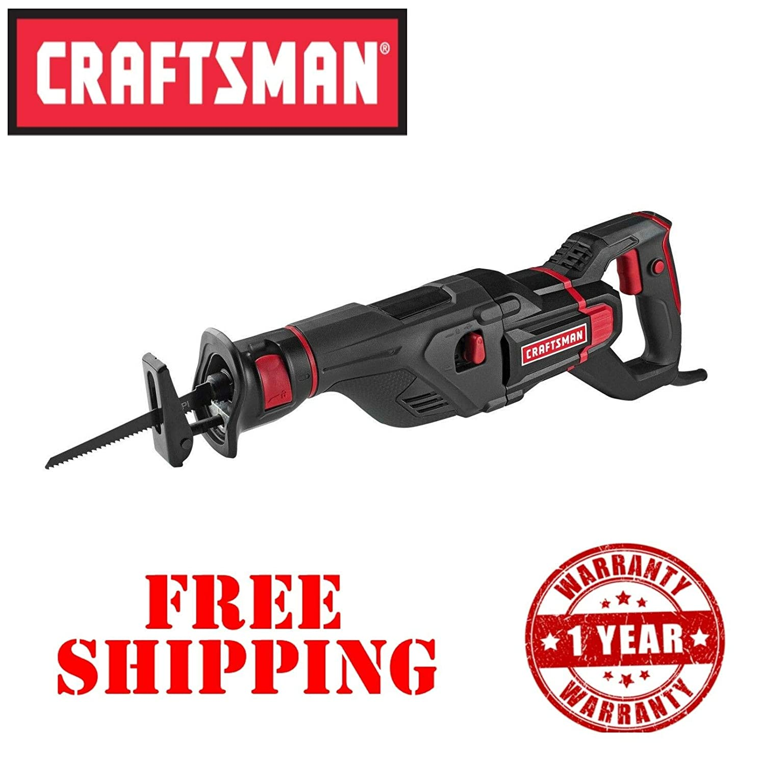 New Craftsman 12A Amp Scrolling Reciprocating Saw Corded 1 1/8 inch Blade Stroke
