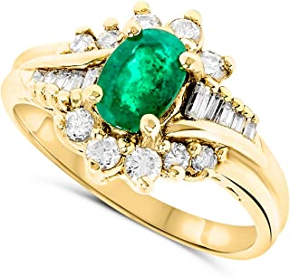 JewelryBliss 18k Yellow Gold Oval Green Emerald and Diamond Bypass Ring