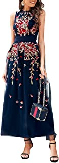 Women's Elegant Floral Embroidered Mesh Lace Dress Cocktail Sleeveless