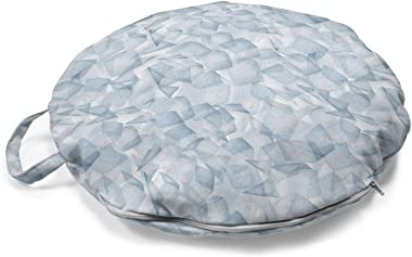 Lunarable Geometric Round Floor Cushion with Handle, Futuristic Abstract Ice Cubes and Triangles Contemporary in Soft Tones D