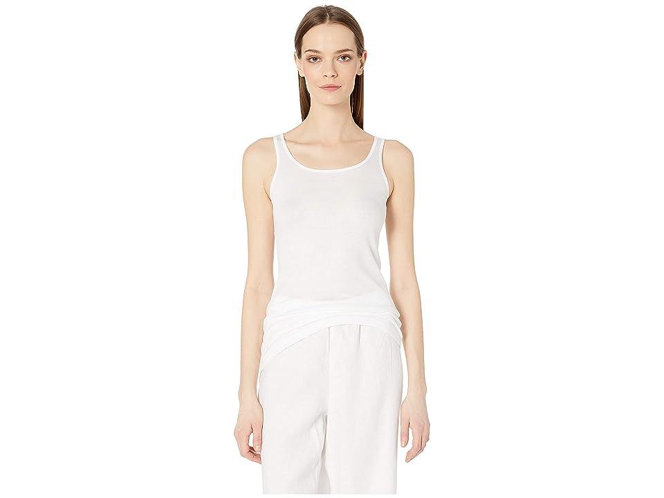 Eileen Fisher Scoop Neck Long Slim Cami (White) Women