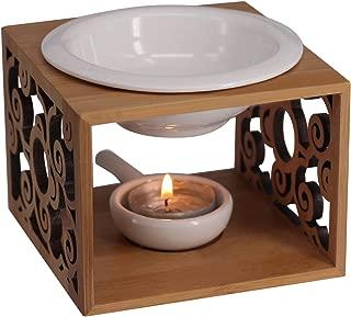 Singeek Ceramic Essential Oil Burner Diffuser,Hollowing Floral Tea Light Holder Aromatherapy Oil Warmer, Holiday Home Decoration Valentine (Auspicious Cloud)