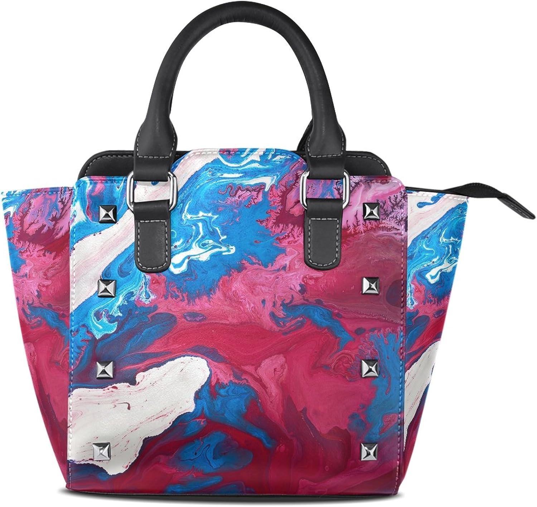 Coosun Frauen abstrakte Farbe PU Leder Schultertasche Top-Griff Handtasche Tote Umhängetasche B071XG4WQ5  Schönes Aussehen