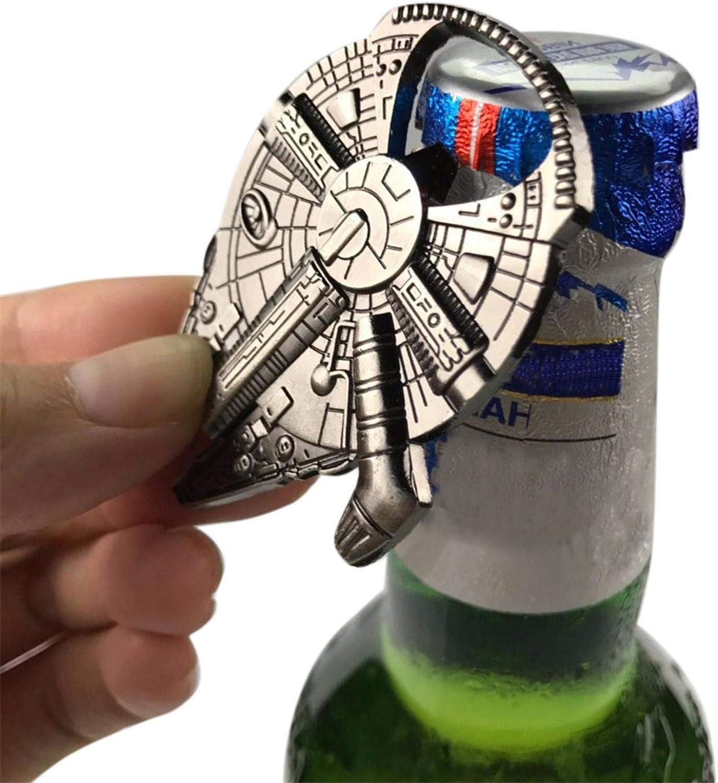 chinejaper Abridor de botellas de vino de cerveza Llavero Wars Falcon Metal Llavero Abridor de botellas Rebel Alliance Wars Millenium Falcon Abridor de botellas de metal Versión original