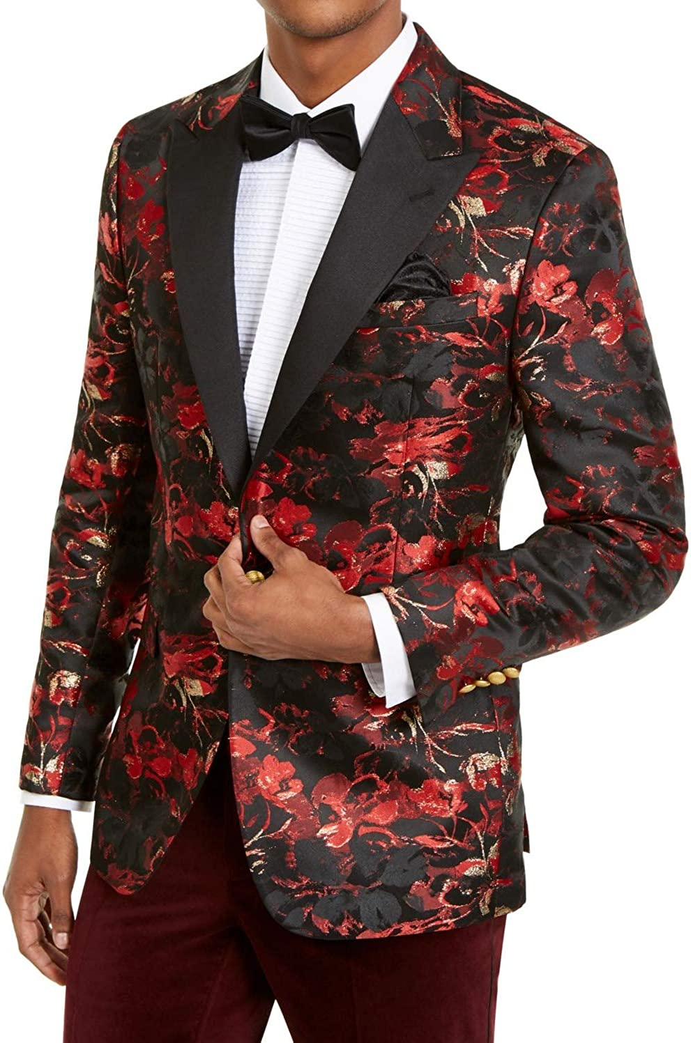 Our shop OFFers the best service Tallia Mens Blazer Long Floral Print One-Button Red 44 Las Vegas Mall Fit Slim