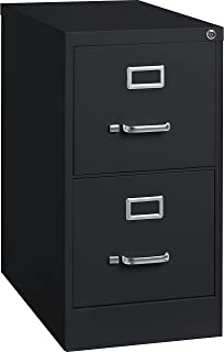 Lorell 2-Drawer Vertical File with Lock, 15 by 25 by 28-3/8-Inch, Black