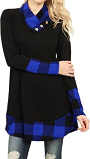 Womens Buffalo Plaid Patched Full Sleeve Button Cowl Blouses Loose Tunic Dress