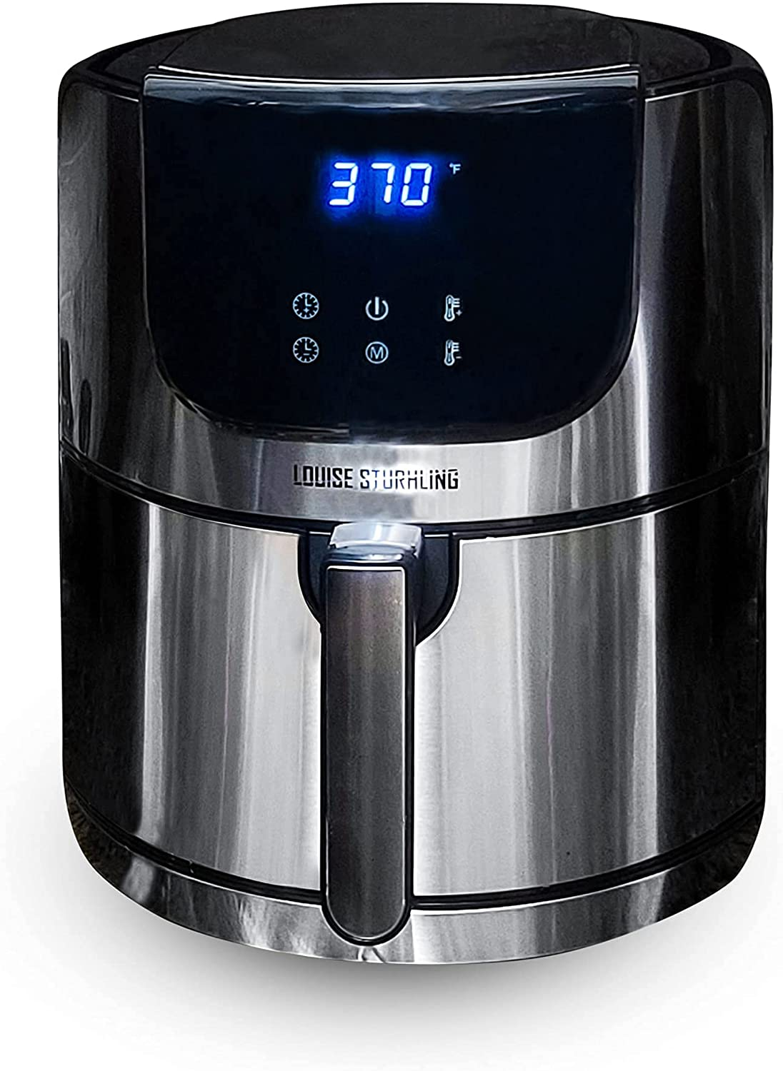 LOUISE STURHLING Stainless Steel Natural Ceramic Coated 5.8Qt Air Fryer XL Hot Oven Cooker. BPA-FREE, PFOS & PFOA-FREE, Lead & Cadmium Free, 8-in-1 Programmed Touchscreen Settings, plus FREE COOKBOOK (Renewed)