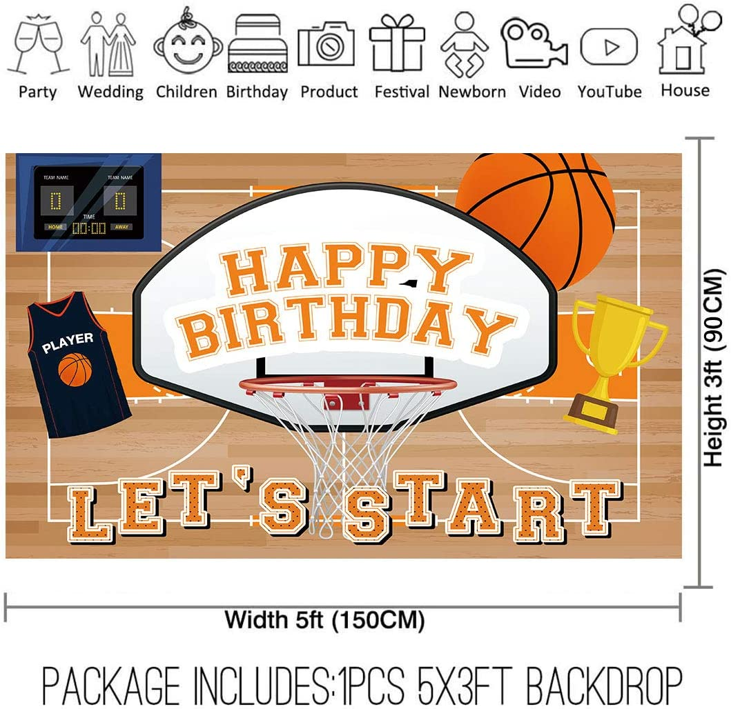 Allenjoy 10x8ft Fabric Basketball Theme All Star Backdrop Supplies for Boys 1st Birthday Party Decoration Newborn Children Cake Smash Baby Shower Studio Photography Photo Booth Props Favors Background