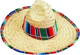 Child Sombrero Hat with Serape Trim, Straw Hat for Cinco de Mayo, Mexican Serape Costume