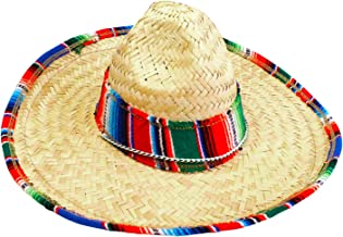 GiftExpress Child Sombrero Hat with Serape Trim, Straw Hat for Cinco de Mayo, Mexican Serape Costume