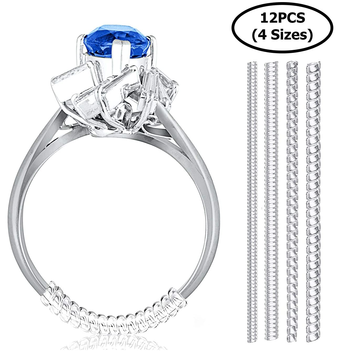 Set of 12 Ring Size Adjuster for Loose Rings | 4 Sizes - 2mm/ 3mm/ 4mm/ 5mm | Ring Fitter, Sizer, Clear Spiral Silicone Tightener | Fits Men and Women Rings | with Jewelry Polishing Cloth