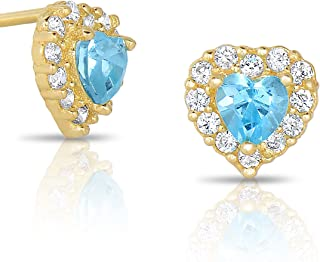 Tiny 14k Yellow Gold Cubic Zirconia Heart Stud Earrings with Secure Screw-Backs (March Birth Month)