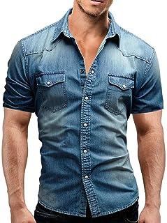 e471f096909 ALIKEEY Camisa De BotóN Corte Slim Casual para Hombre con Blusa Manga Corta  Bolsillo Camiseta Camiseta