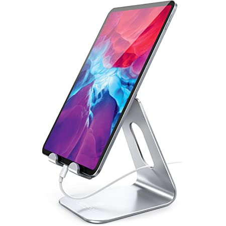 Soporte para Tablet Multiángulo, Lamicall Base Tablet : Ajustable Base Stand Holder Tablets Escritorio Accesorios, Compatible con iPad Mini 2 3 4 Pro Air 5 6 7 8, Samsung Tabs, Xiaomi, Huawei, Kindle, otros 4'' a 13'' para Tablets y Celulares mesa – Plata