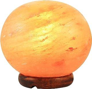 Lámpara de sal del Himalaya, 100 % natural, reduce el estrés, purifica el aire, reduce los síntomas de alergia, mejora la respiración y el sueño (bola media).