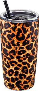 Best ALOUFEA 20oz Stainless Steel Tumbler with Lid and Straw, Vacuum Insulated Tumbler Cup, Double Wall Coffee Tumbler, Powder Coated Travel Coffee Mug, Leopard Review