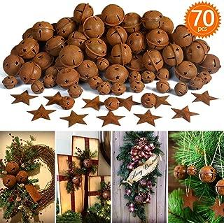 70Pcs Rusty Metal Jingle Bells and Stars, 40pcs 1.8inch and10pcs 1inch Bells,20pcs 1.8inch Stars for Christmas Holiday Decoration, DIY Craft Supplies
