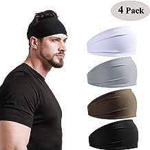 DEMIL Mens Headbands 2Pack 4Pack Guys Sweatband & Sports Headband Moisture Wicking Workout Sweatbands for Running, Cross Training, Yoga and Bike Helmet Friendly