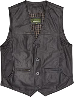 HIDEPARK Rico: Men's Black All Leather Waistcoat