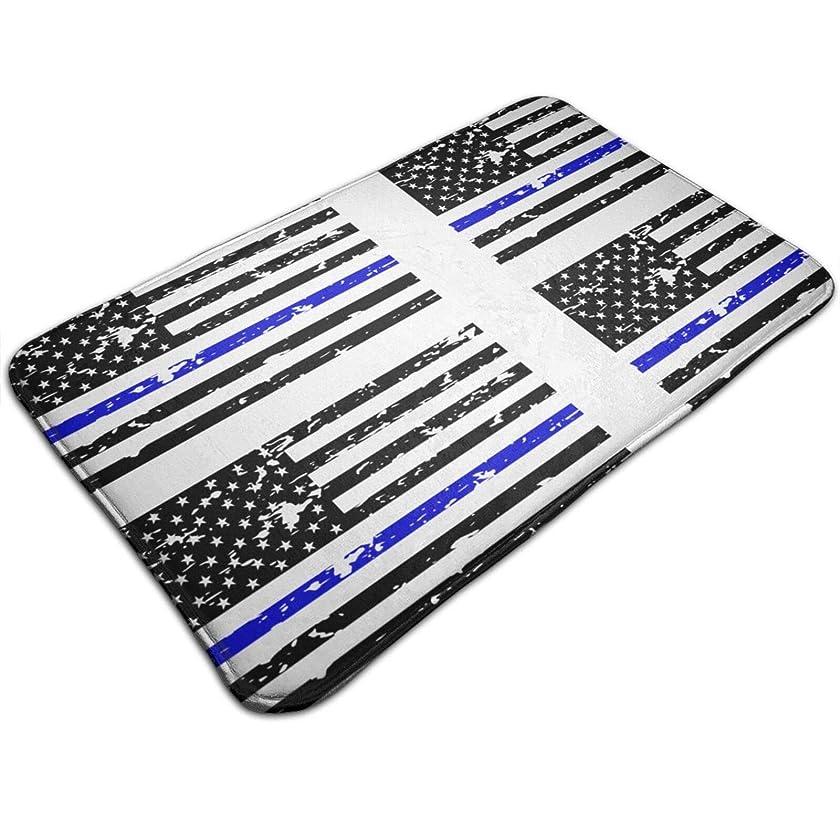 地上の不愉快に頼る細い青い線米国旗 カーペット ホーム ドアマット 滑り止め 玄関ラグ ドアマット 50×80cm