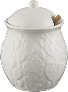 Mason Cash In the Forest Honey Pot, Durable Stoneware Construction, Wooden Drizzler, Intricate Embossed Design, 16-Fluid Ounces, Microwave and Dishwasher Safe, Cream