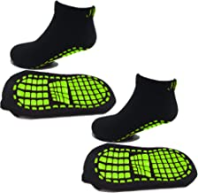 (9 INCHES / 23 CM) NON SKID SOCKS FOR KIDS, NON SLIP, STICKY, GRIP TODDLERS, GREEN BLACK