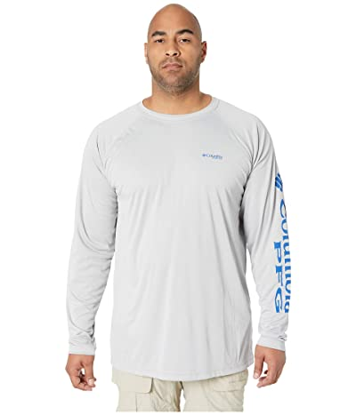 Columbia Big Tall Terminal Tackle L/S Shirt (Cool Grey/Vivid Blue Logo) Men