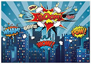 Allenjoy 7x5ft Superhero Themed Backdrops Blue Super City Skyline Buildings Children Boy Birthday Photography Party Event Banner Photo Studio Booth Background Baby Shower Photocall Fabric Material