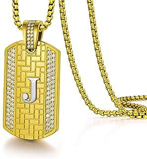 Initial Necklace for Men Women Letter Pendant Capital 18K...