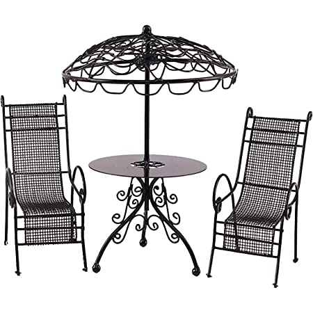 yuye-xthriv Three-Piece Iron Leisure Table and Chair Set Mini Table Chairs Funny Decorative Display Mold Dollhouse Garden Table Chair for Home Black