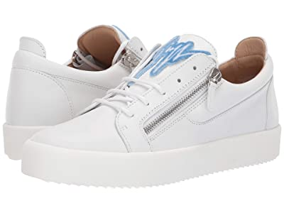 Giuseppe Zanotti Frankie Zipper Low Top Sneaker (White/Blue) Men