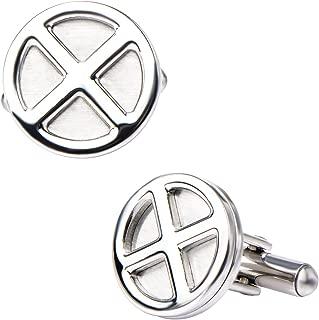 Men's X-Men Logo Stainless Steel Cufflinks, Silver, One Size