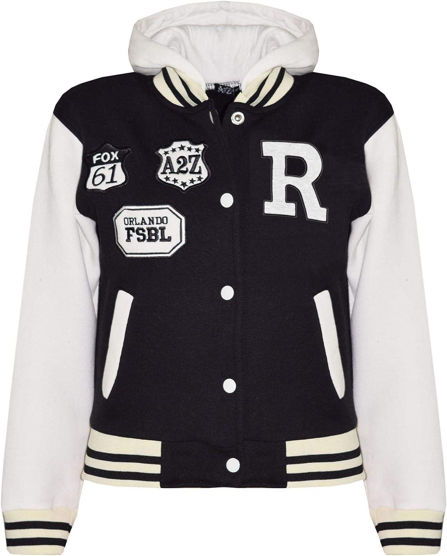 Kids Girls Boys Designer's R Fashion Baseball Black Hooded Jacket Varsity Hoodie