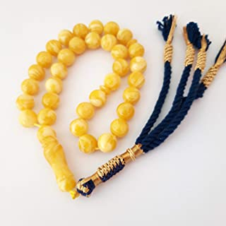sibha prayer yellow apple color Amber sand mask mistika rosary beads genuine Poland amber sand sibha Muslim Islamic art watch accesories