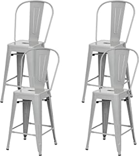 Metal Counter Bar Stools with Seat and Backrest Chairs Set Pack of 4 for Indoor-Outdoor (30