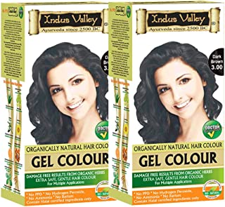 Indus valley gel colour (No harmful ingredients,contain natural herbs like aloevera, jojoba oil, fenugreek) Dark brown-3.0 Hair color Pack of 2