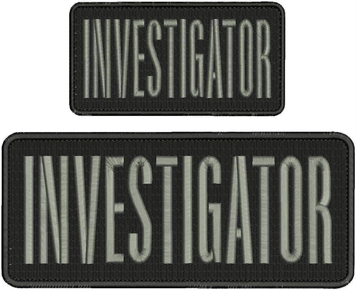 Investigator Omaha Mall Embroidery Patch 4x10 Classic and inches Letters 3x6 Silver