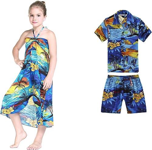 Garçons et Filles Assortis Garçons et Filles Hawaiian Luau Tenues au Coucher du Soleil Rouge et Bleu