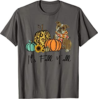It's Fall Y'all Old English Bulldog Leopard Pumpkin Falling T-Shirt