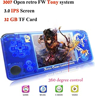 BAORUITENG Handheld Game Console, Retro Game Console 3 Inch HD Screen 3000 Classic Game Console ,Portable Video Game Great Gift for Kids (Blue)