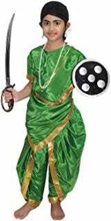 Kaku Fancy Dresses National Hero/Freedom Fighter Rani Laxmi Bai Costume -Magenta, 10-12 Years, for Girls
