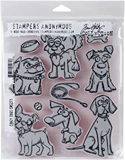 "Tim Holtz Cling Stamps 7""X8.5""-Crazy Dogs (Pack of 1)"