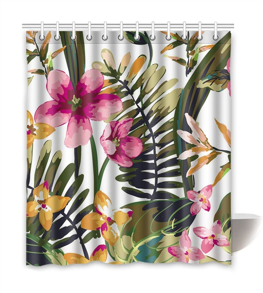 Shower Curtains-Spinulose Tree お得 定価 Fern with Digit Curtains Bathroom