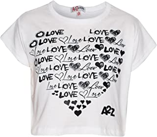 5255b3bec73cd A2Z 4 Kids Enfants Filles Top Love Imprimér Élégant Mode Branché T Shirt  Crop Top Âge