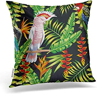 Leisure-Time Funda de Almohada Tropic Bird Macaw Multicolor Parrot On The Exotic Lobster Claws Fundas de Almohada